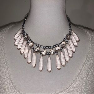 Chandelier Double Draped Clear Pink Necklace